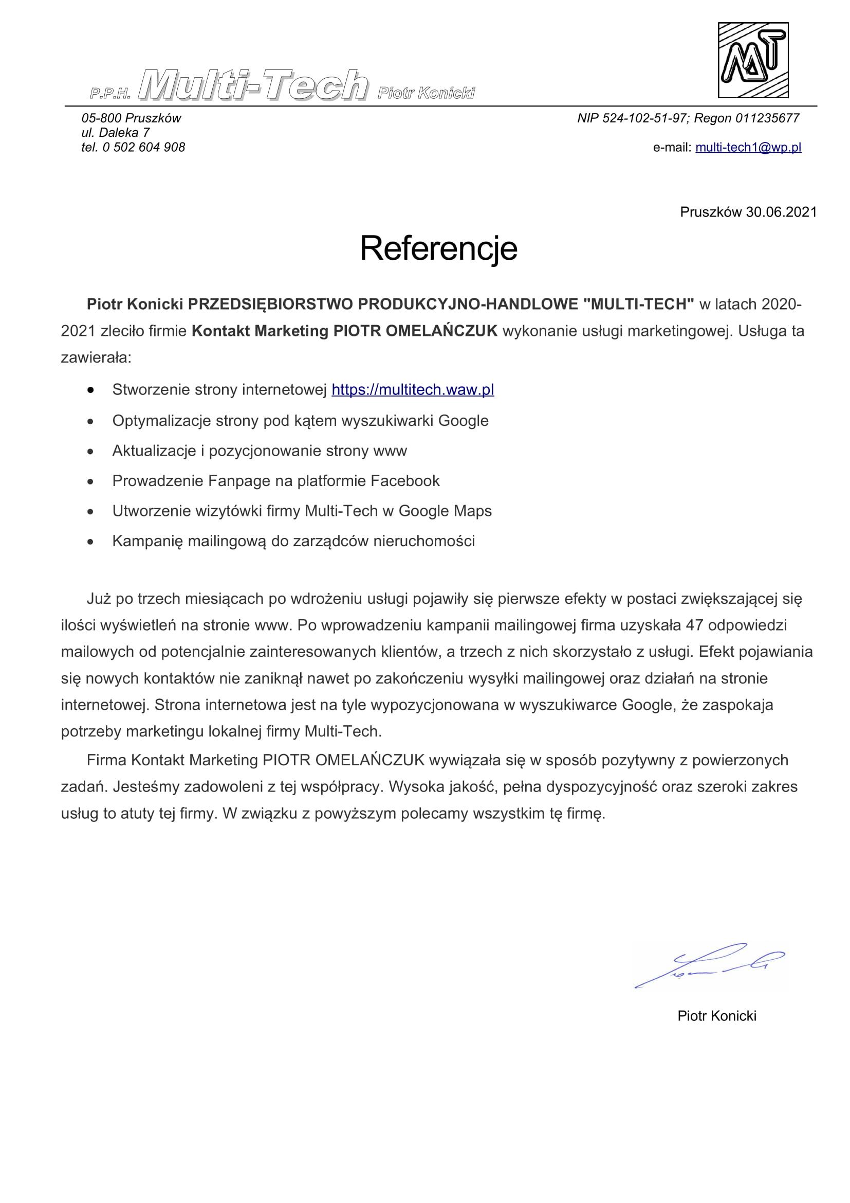 Referencje Klienta Multi-Tech